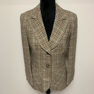Vintage Pendleton Brown Plaid Wool Blazer 10
